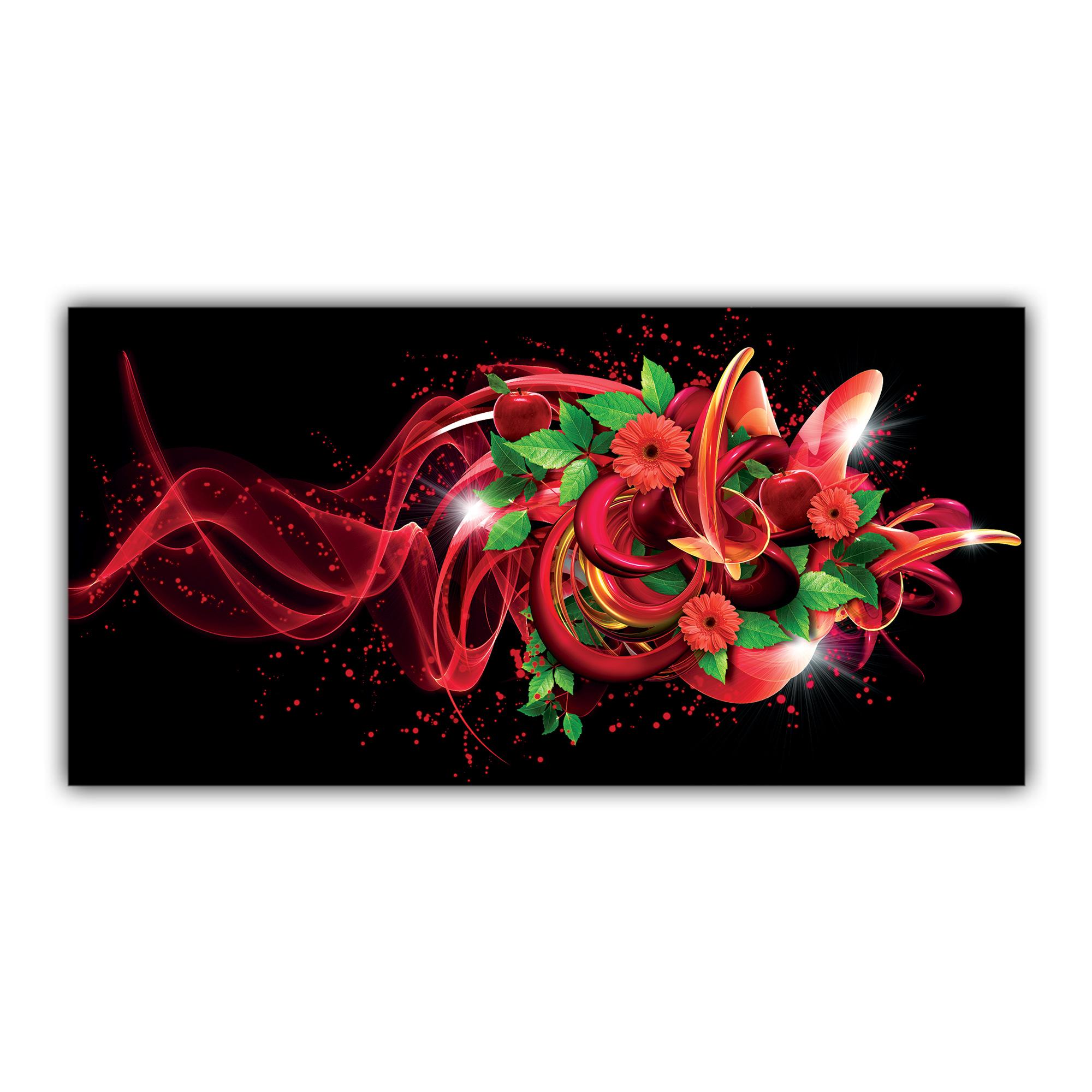 Bouquet Fleurs Rouges Pommes