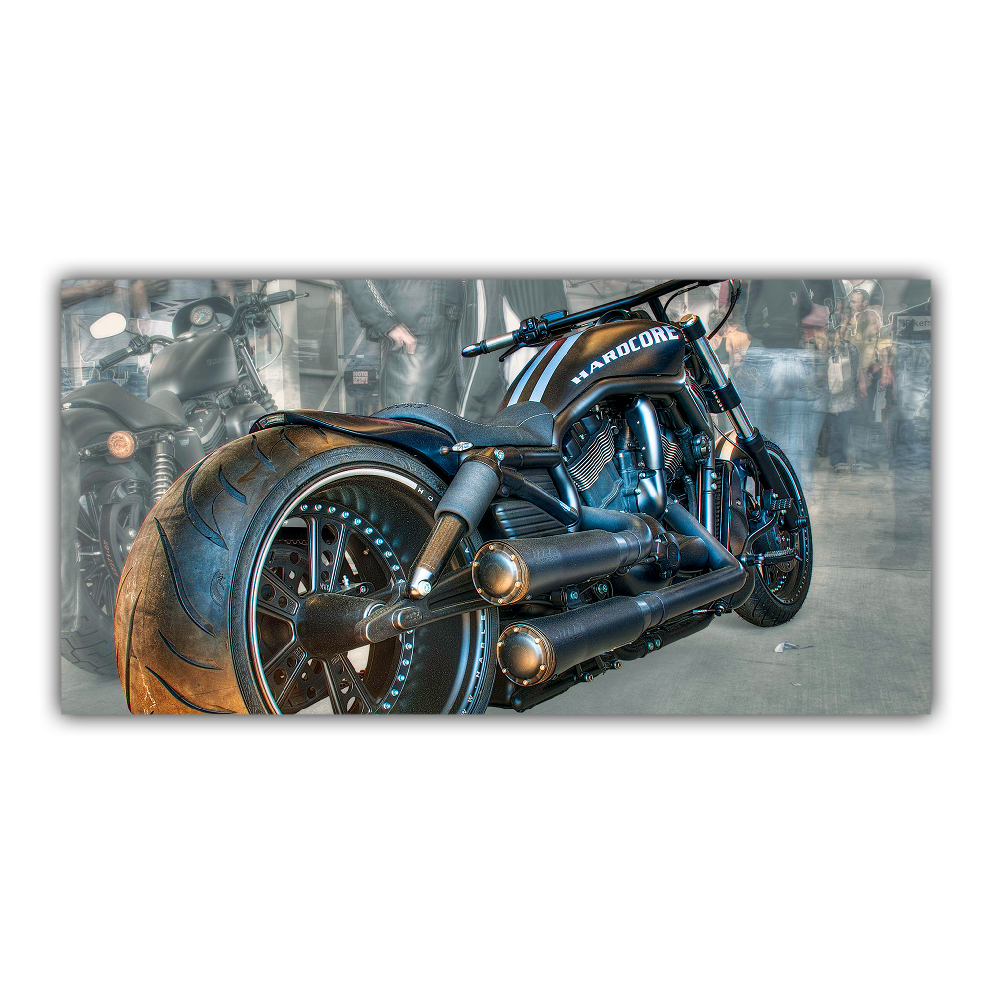 harley davidson custom rassemblement plaque d corative imprim e. Black Bedroom Furniture Sets. Home Design Ideas