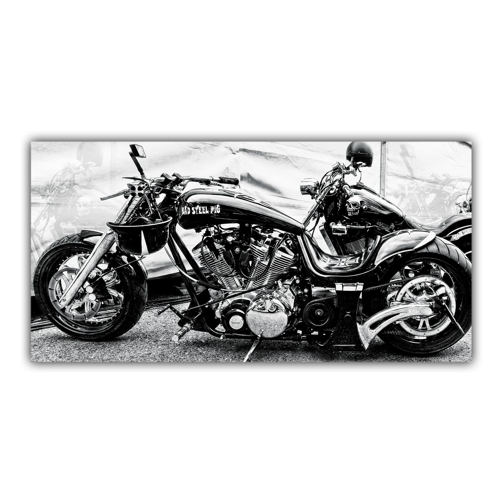 Harley Davidson Chopper Custom Noir et Blanc