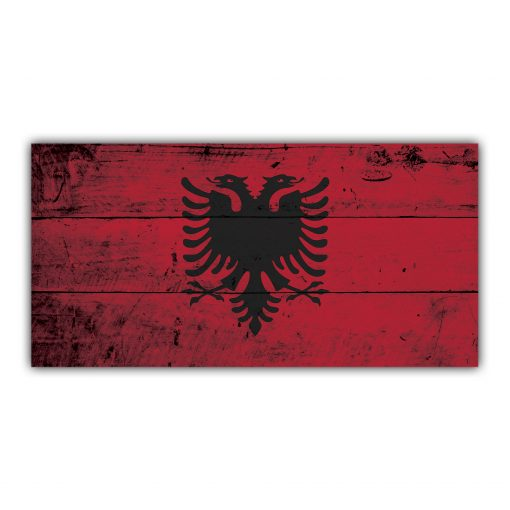 Drapeau d'Albanie Style en Bois